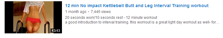 12 min No impact Kettlebell Butt and Leg Interval Training workout