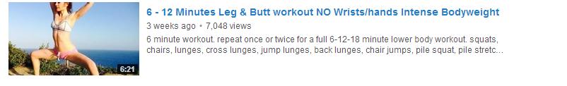 6 to 12 Minutes Leg & Butt workout NO Wrists hands Intense Bodyweight