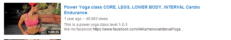 Power Yoga class CORE, LEGS, LOWER BODY, INTERVAL Cardio Endurance