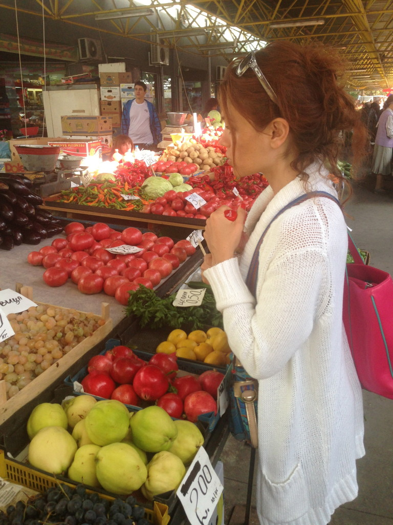 Buying fruit and veggies at the farmers market in Sofia