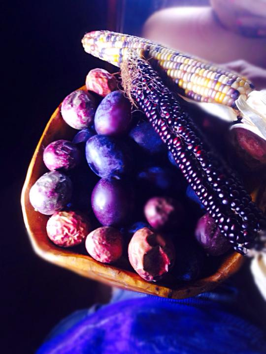 passionfruit plums purple corn