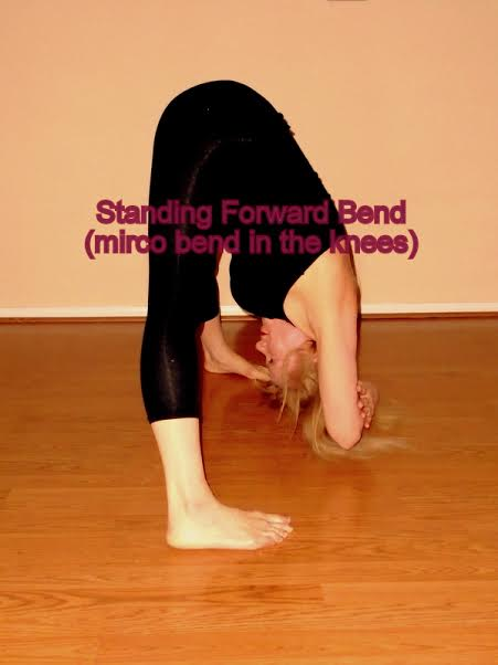 standing forward bend microbent in the knees