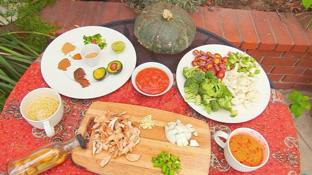 ingredients- lentil millet vegan stew HCLF